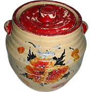 SALE Red Wing Cookie Jar Pottery Crock with Lid -1900's