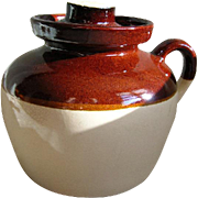 Roseville Pottery Stoneware Handled Crock with Lid-1940's