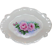 Hand Painted Rose Porcelain Dresser or Vanity Tray-1930's