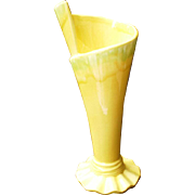 SALE Royal Haegar Art Pottery Vase in Yellow Drip Glaze Royal Hickman Design-1940's
