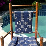 1880s Victorian Woven Indigo Blue/White Coverlet Child's Rocking Chair