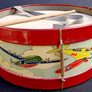 Airplane 1940's Toy Tin Lithographed Drum