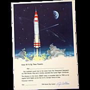 SOLD Disneyland 1955 TWA Rocket to the Moon Certificate