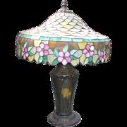 SALE 20th c Rainaud Art Nouveau Stained Slag Glass Table Lamp