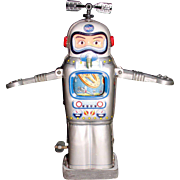 """SOLD Robot 1950's Alps Tin Wind-up """"Mechanical Television Spaceman"""