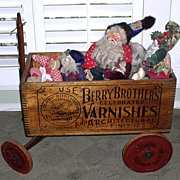 Rare 1900s Berry Brothers Varnishes Toy Wagon & Pinback Button