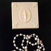 Vintage Catholic Rosary In Original Celluloid Box