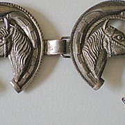 SALE Vintage Western Vest Or Bridle Decoration Horse Heads