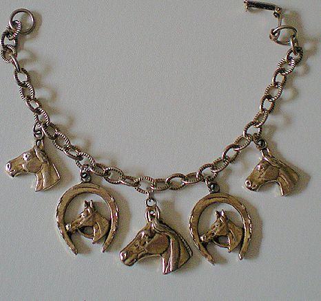 Vintage Race Horse Or Western Motif Charm Bracelet