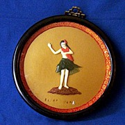SALE 3 Dimensional Framed Hawaiian Hula Girl