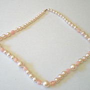 Vintage Faux Pearl & Pink Bead Necklace 36 Inch