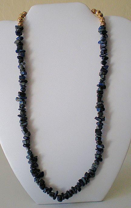 Vintage 20 Inch Necklace Lapis Stones
