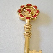 Vintage Brooch Key With Roman Warrior