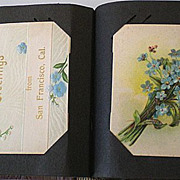 Antique Post Card Album w/ 68 Cards Holidays etc.