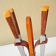 Outstanding Vintage Bakelite Fruit Knife Set In Stand