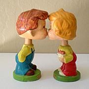 """Vintage Pair """"Kiss Me"""" Kids Composition Head Bobbers"""
