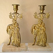 Pair of  Marble and Brass Figural Candlestick Holders