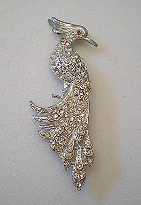 Fabulous Art Deco Era Rhinestone Bird Brooch or Pin