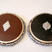SALE (2) Art Deco Enamel & Mesh Powder Compacts Evans