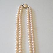 Elegant Vintage Faux Pearls Double Strand Necklace