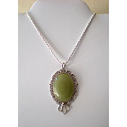 "24"" Italian Sterling Silver Chain With Large Pendant"