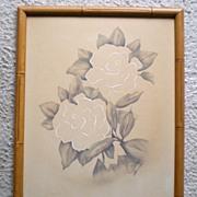 SALE Vintage 1940's Hawaiian Flowers Watercolor