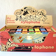 Vintage Tin Litho Walt Disney Character Xylophone with Box