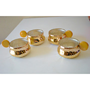 SALE (4) Silver Plated Punch Cups w/ Bakelite Handles