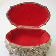 Vintage Metal Trinket Vanity Box With Hinged Lid
