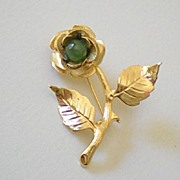 Gold Tone Rose Pin With Jade Stone Center