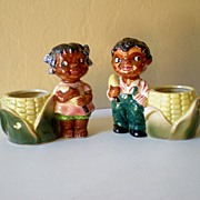Awesome Vintage Pair Black Americana Ceramic Planters
