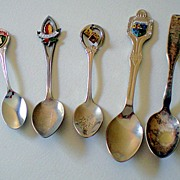 Group of (5) Vintage Souvenir Spoons
