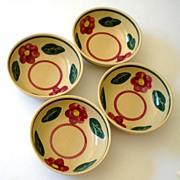 (4) Matching Watt Pottery Bowls Pansy Pattern