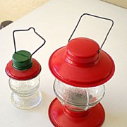 SALE (2) Extra Nice Old Glass Candy Containers Lanterns