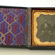 Antique 1850's Tin Type Photo in Beautiful Case