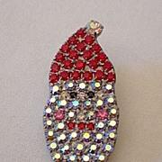 Crystal Santa Claus Face Lapel Pin