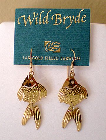 Vintage Wild Bryde  Earrings Articulated Fish