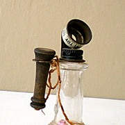 Old Heavy Glass Candy Container Telephone Signed Stough