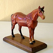 Vintage Painted Metal Horse On Wood Base