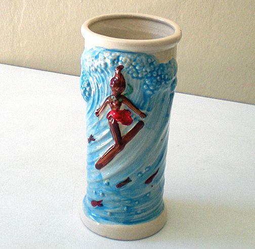 Vintage Surfing Hula Girl Drink Glass or Vase