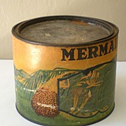 "SALE LARGE Old Advertising Tin ""Mermaid Brand"" Dates"