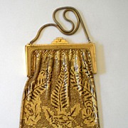 SALE Gorgeous Vintage Whiting Davis Gold & Black Mesh Purse