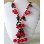 To Die For All Original Bakelite & Celluloid Cherries Necklace