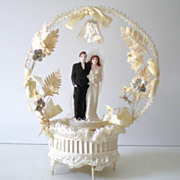 Vintage 1940s Wedding Cake Top Bride & Groom Lovely Base