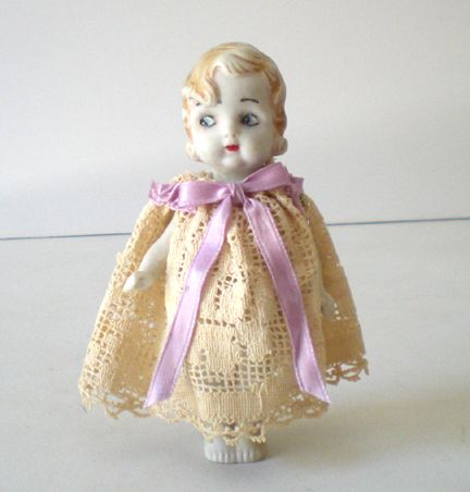 Vintage 1920's Bisque Doll In Lace Dress