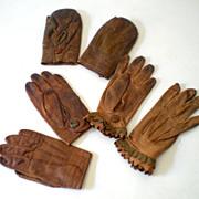 SALE (3) Pair of Vintage Children's Kid Leather Gloves Mittens