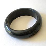 SALE Chunky Carved BAKELITE Bracelet Deep Navy Blue