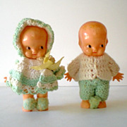 Pair 1950's Hard Plastic Doll In Crochet Outfit.  Irwin U.S.A.