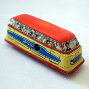 Vintage Tin Litho Toy Touring Bus Made in Western Germany
