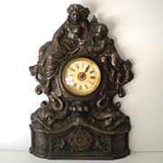 Working Antique Cast Iron Mantle Clock Cherubs & Harps